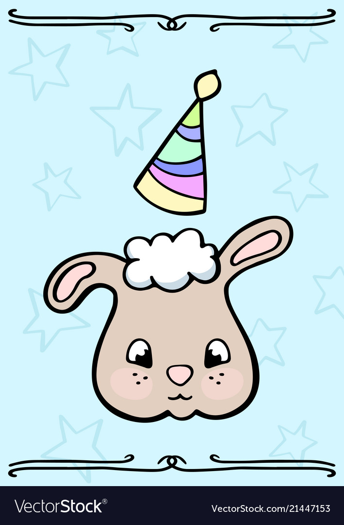 Cute sheep in party hat doodle card