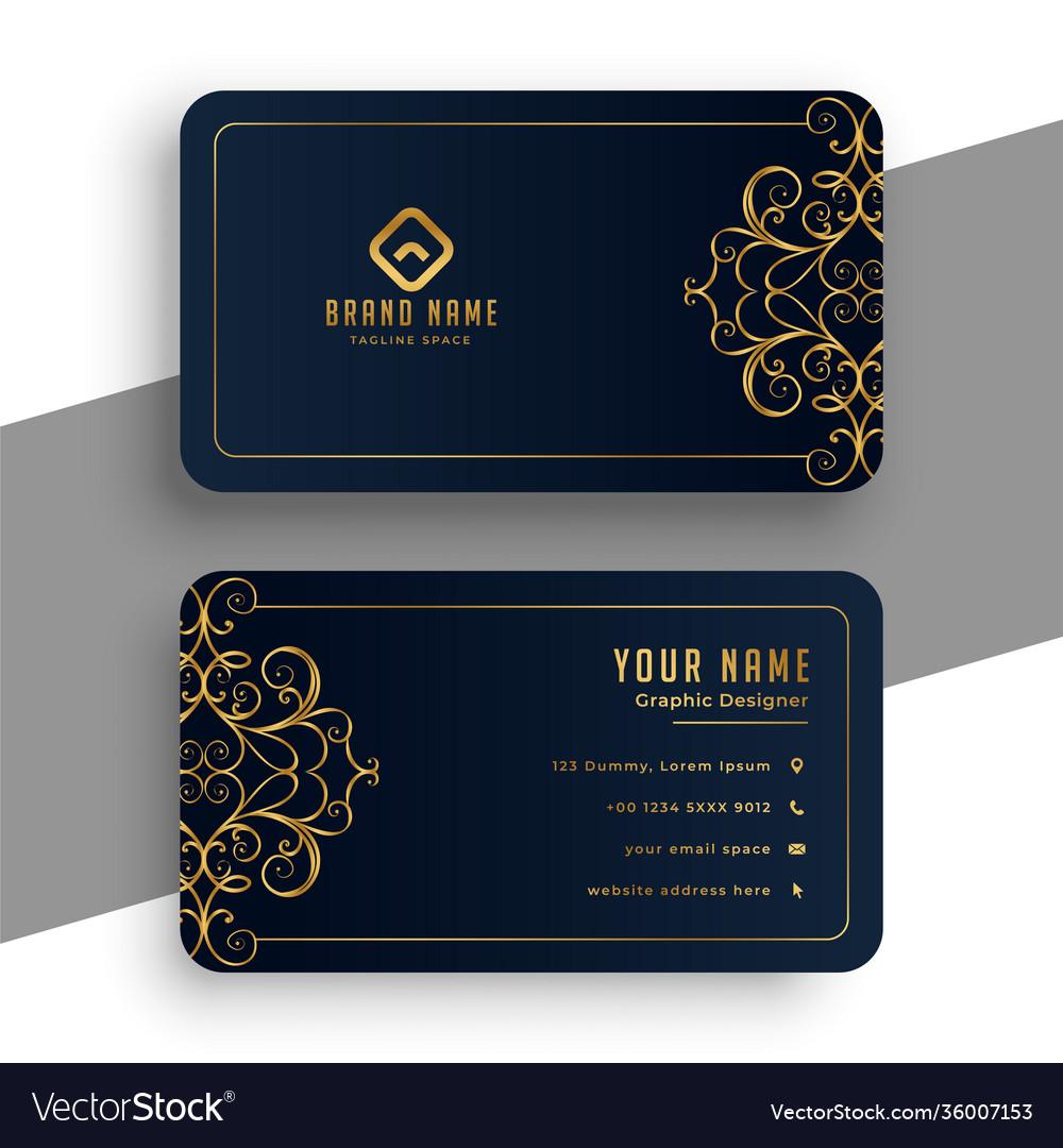 Decorative premium black and gold business card