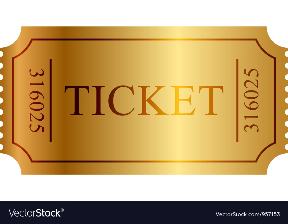 Gold ticket vector image