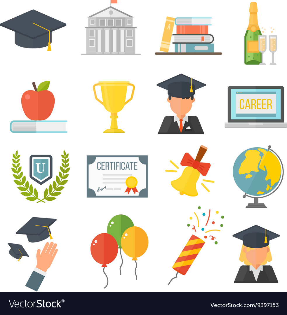 Graduation education set vector image