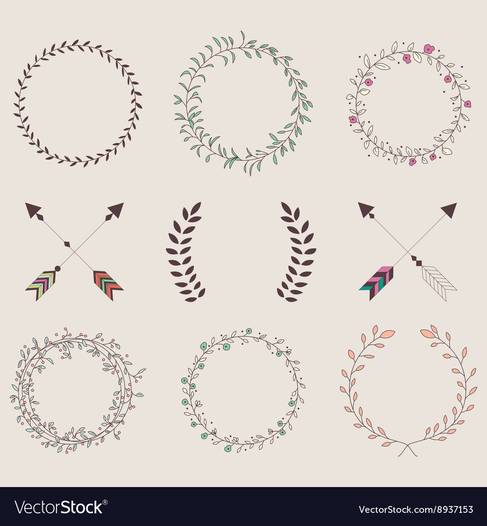 Hand drawn vintage arrows feathers dividers