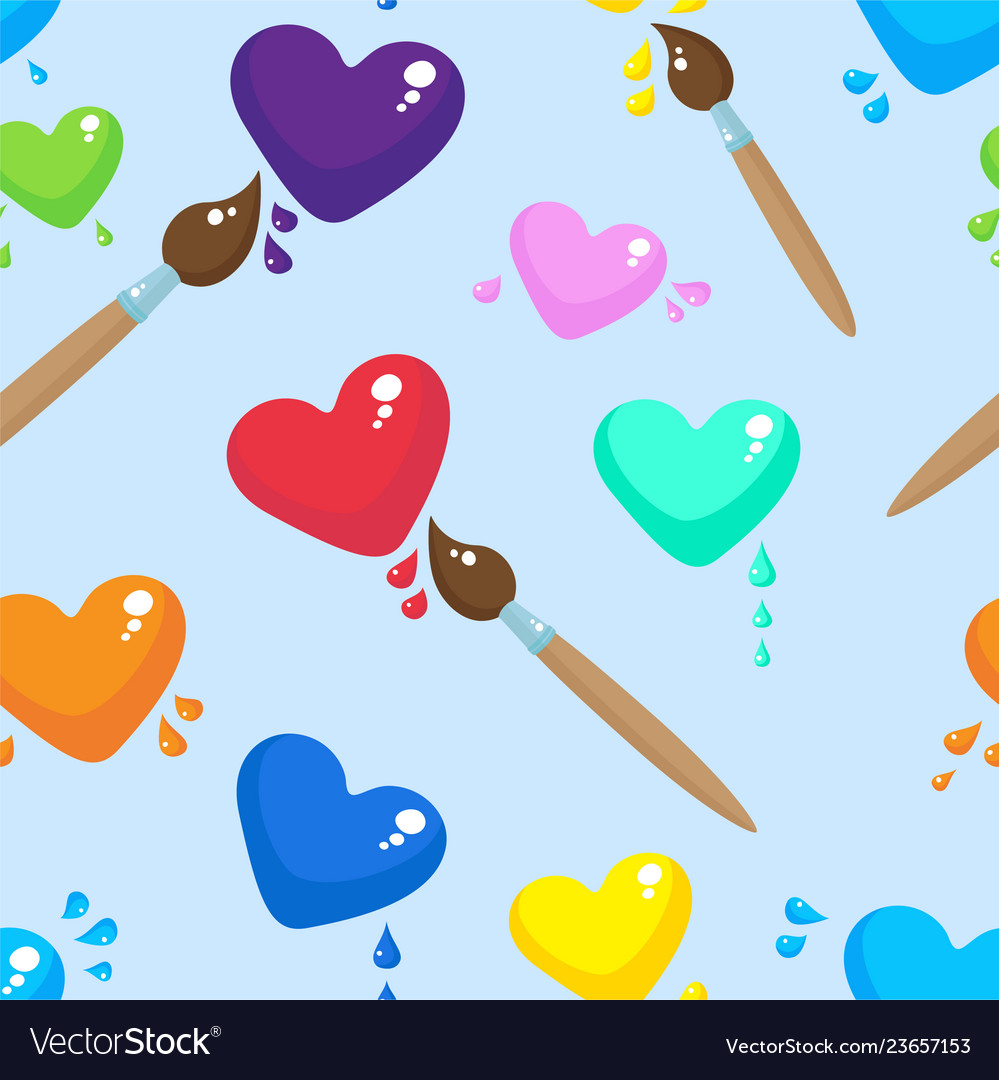Hearts and brushes seamless pattern background