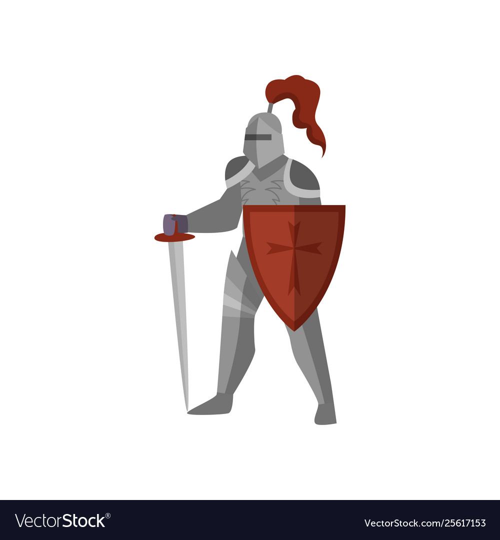 Medieval knight with long sword and red cross