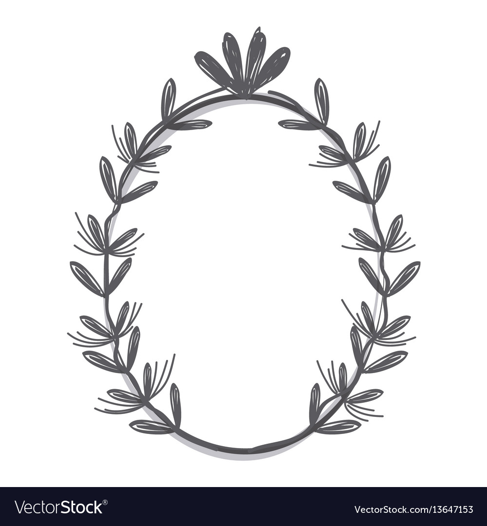 Rustic emblem branches icon