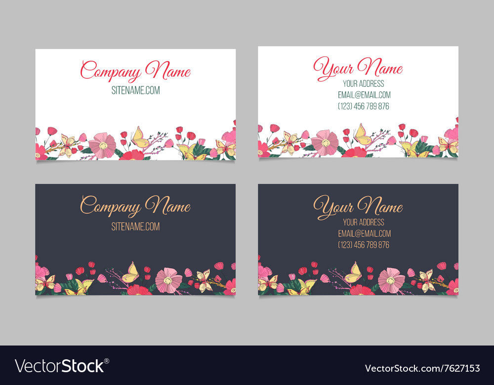 Set of two double sided floral business cards vector image colourmoves