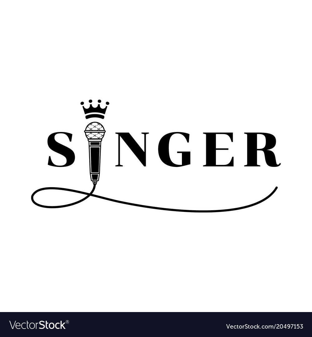 singer word design with microphone royalty free vector image