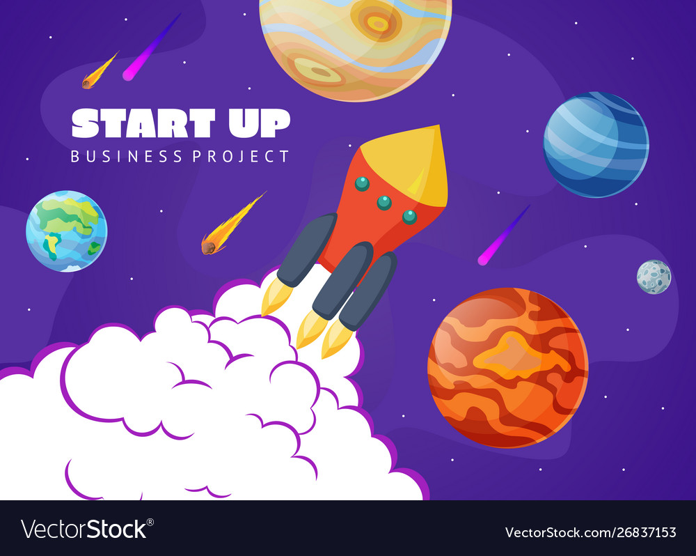 Start up concept space background with rocket and