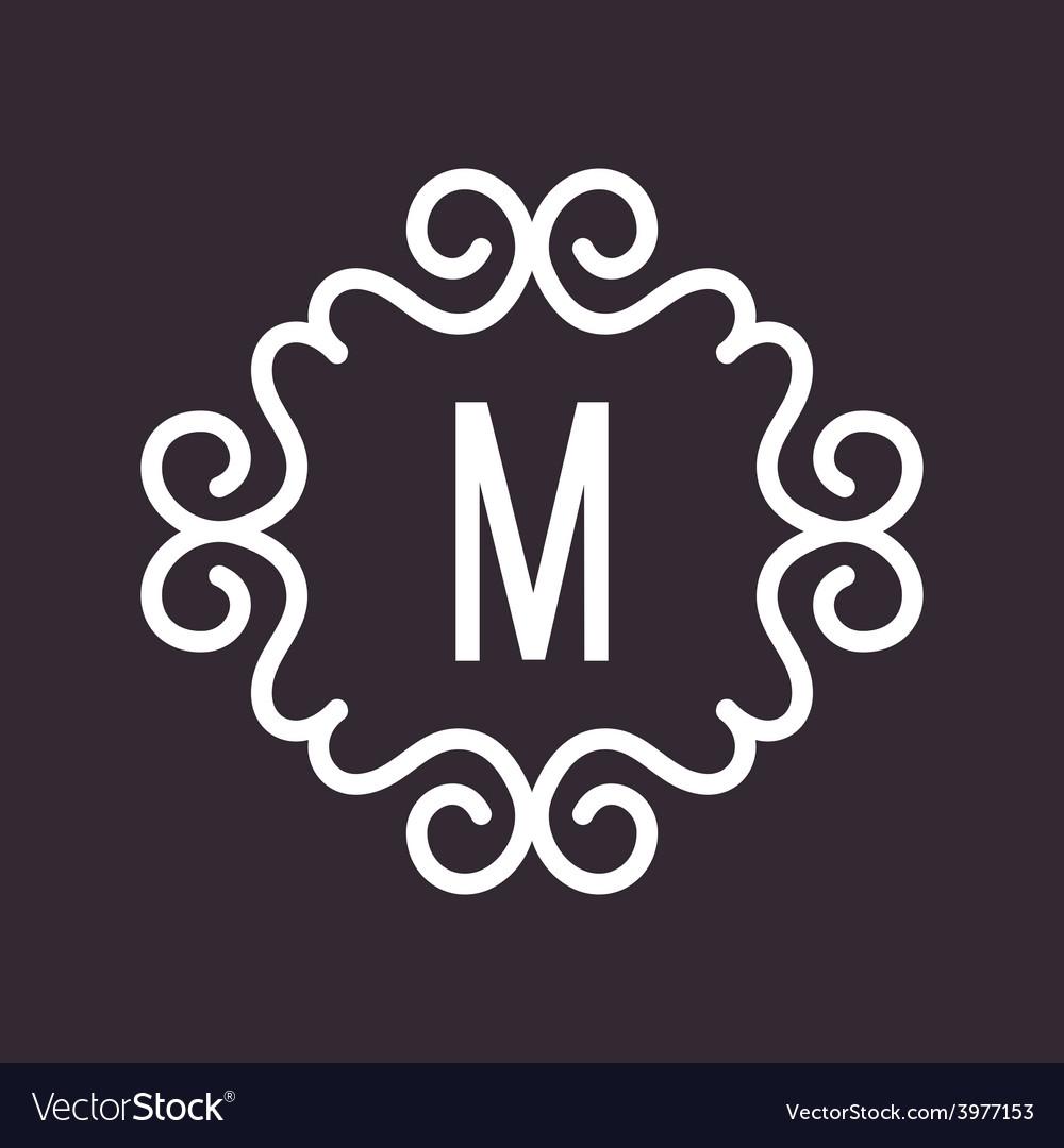 White Vintage Twirl Frame for M Letter