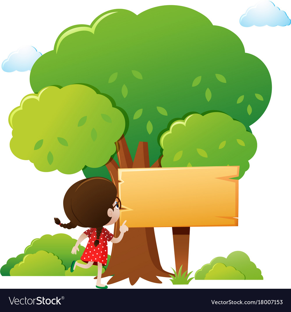 wooden sign template with girl and tree royalty free vector