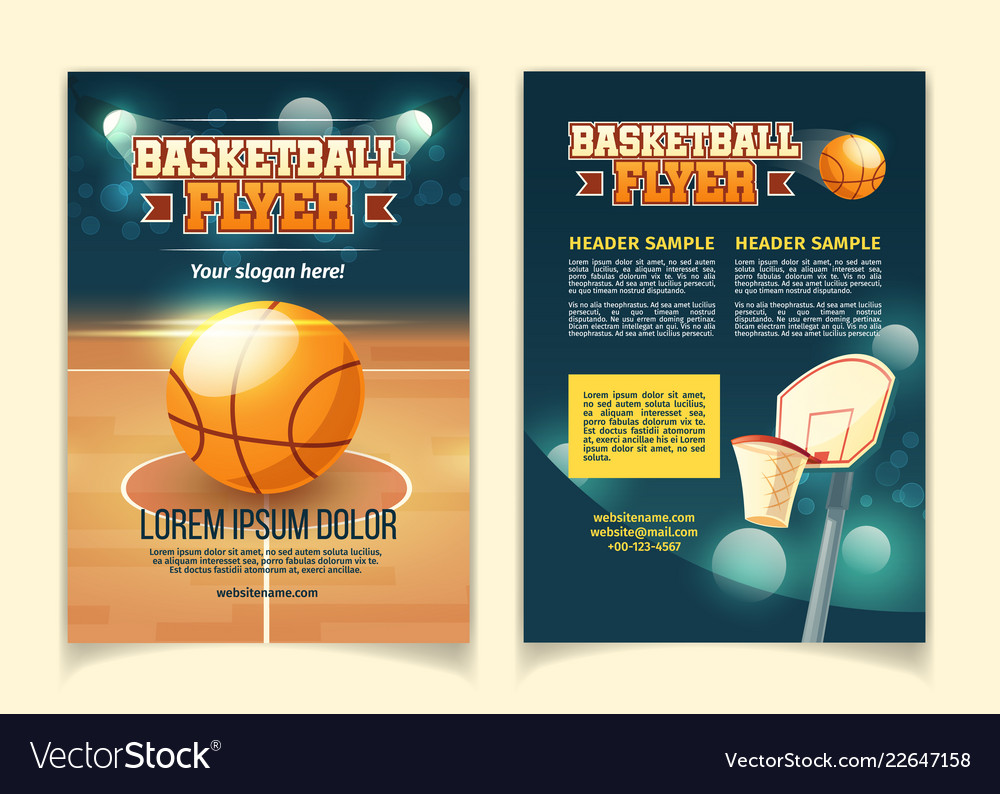 Cartoon flyers to invite on basketball game