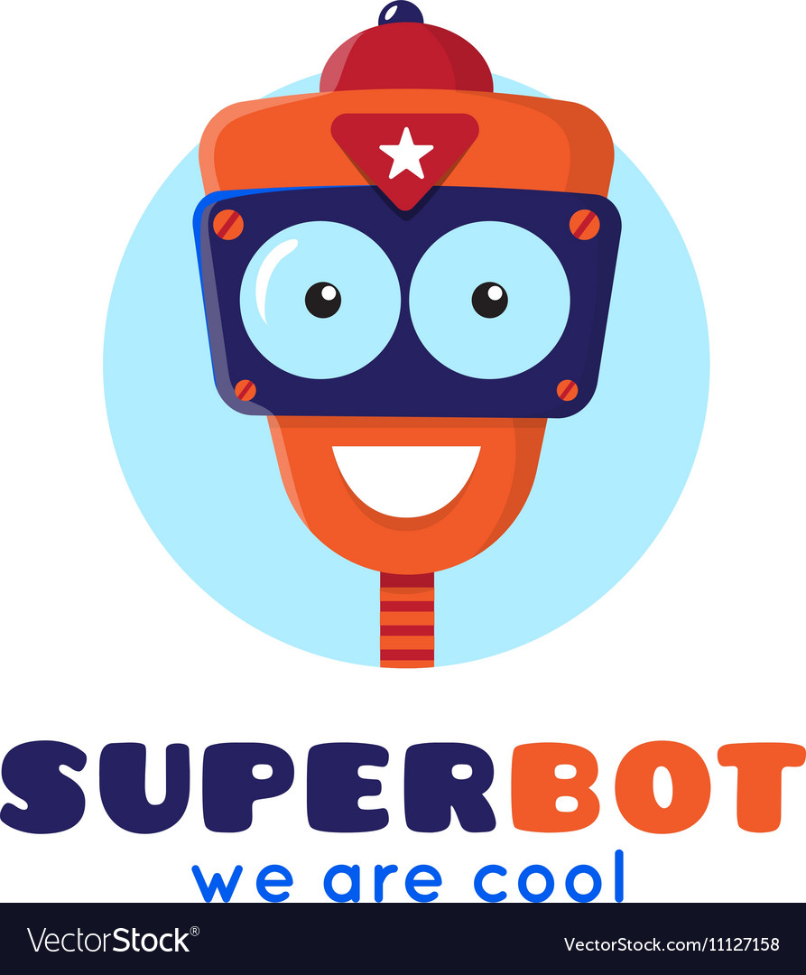 Cartoon robot head logo vector image