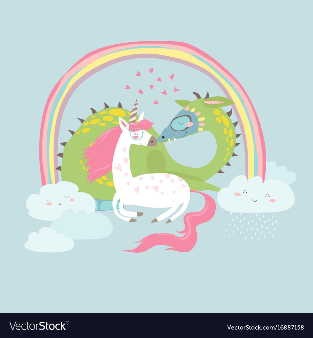 Cute cartoon dragon with unicorn