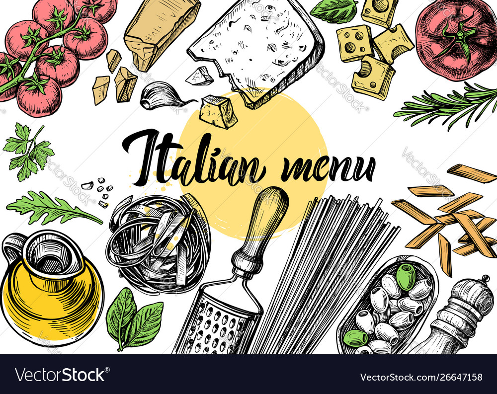 Hand drawn outline food
