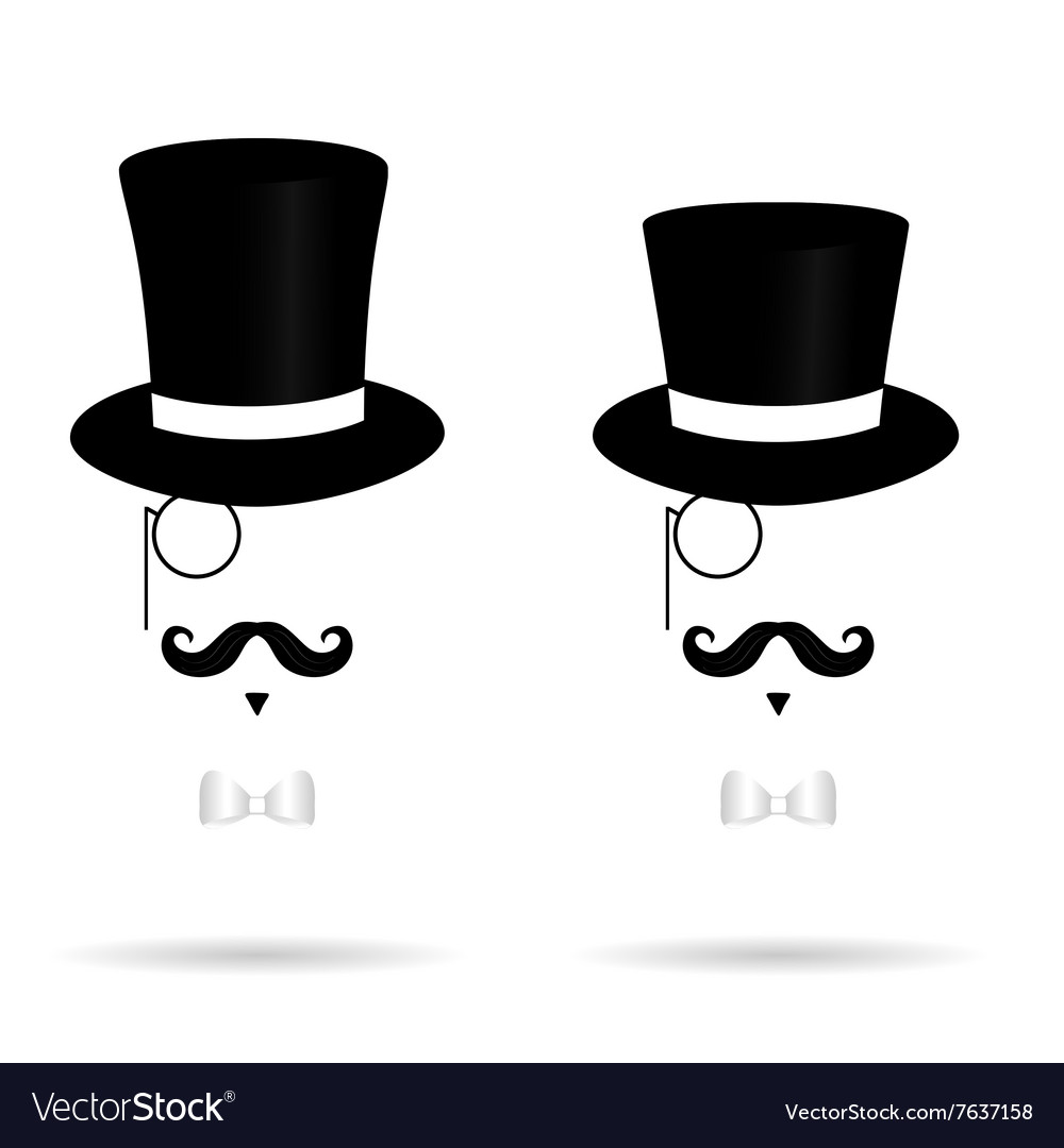 Hat cylinder with mustache silhouette vector image