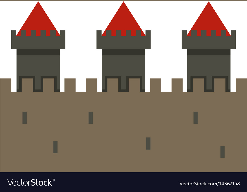 Medieval fortification icon isolated