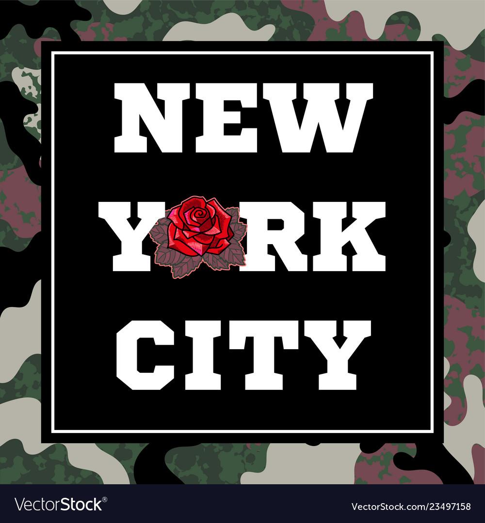 New york city print with rose