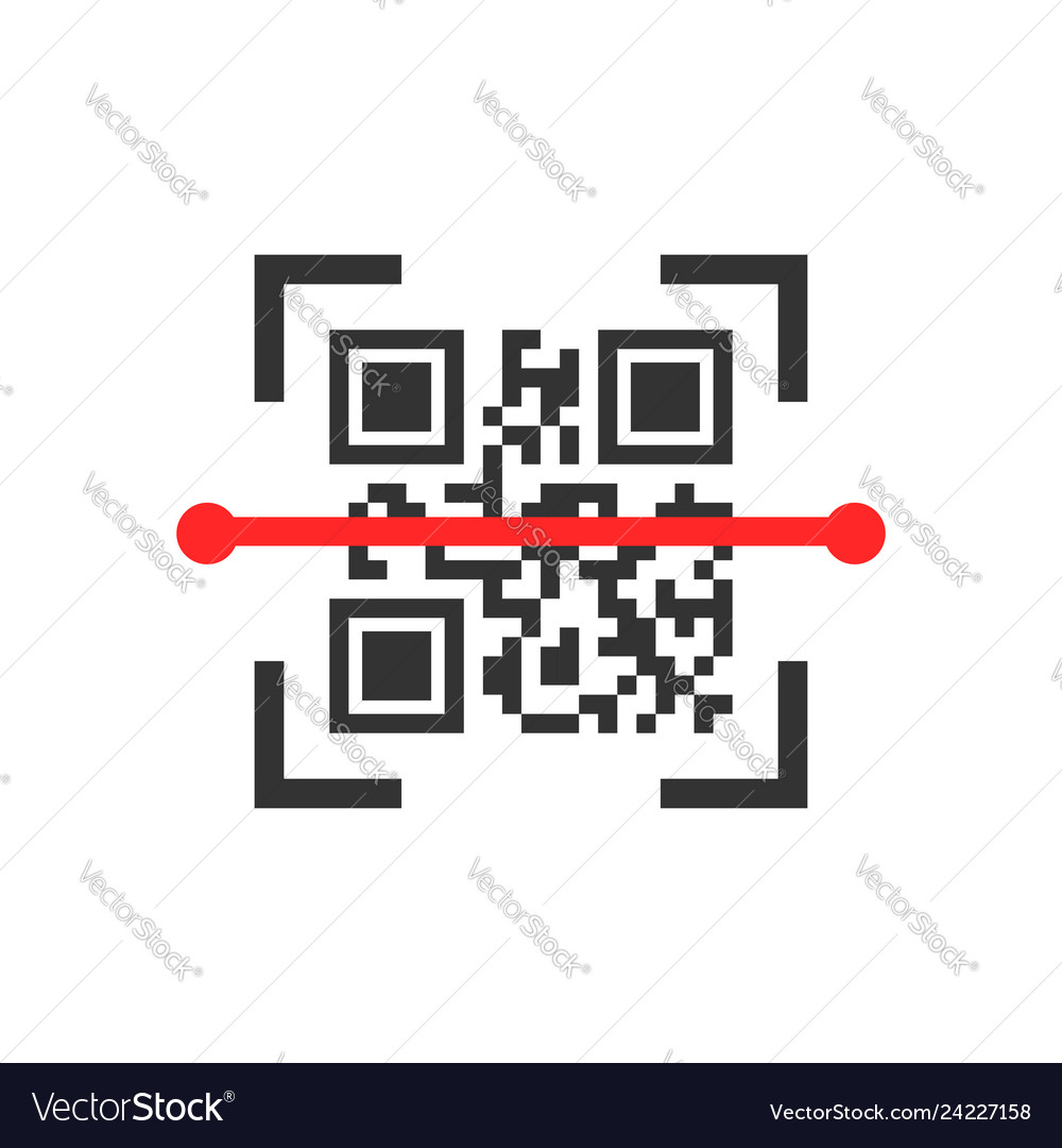Qr code scan icon in flat style scanner id on