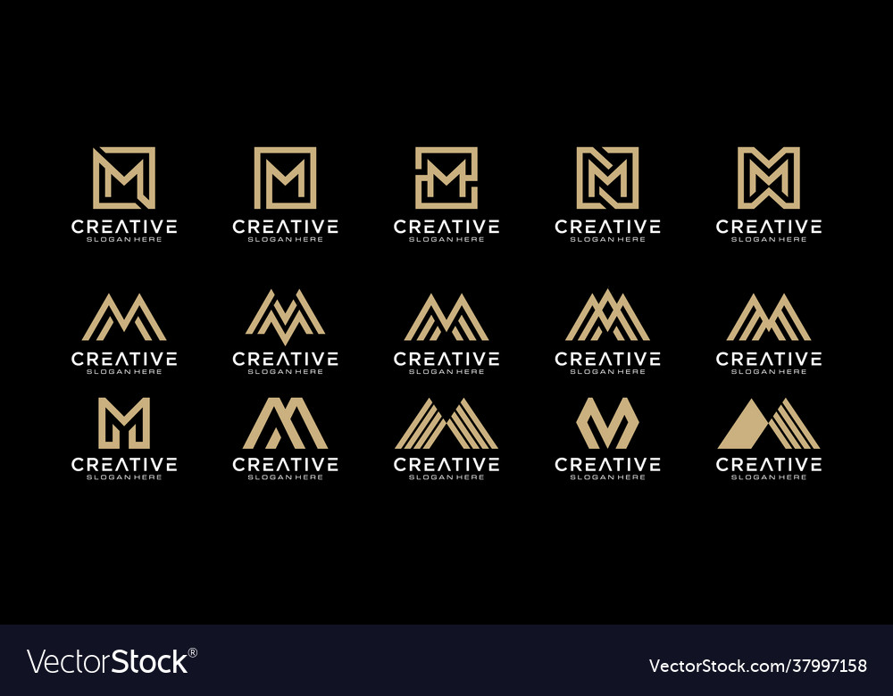 Set initials letter m abstract logo design