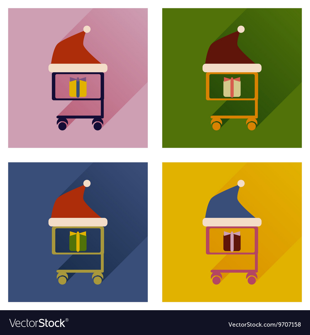 Set of flat icons with long shadow cart Christmas