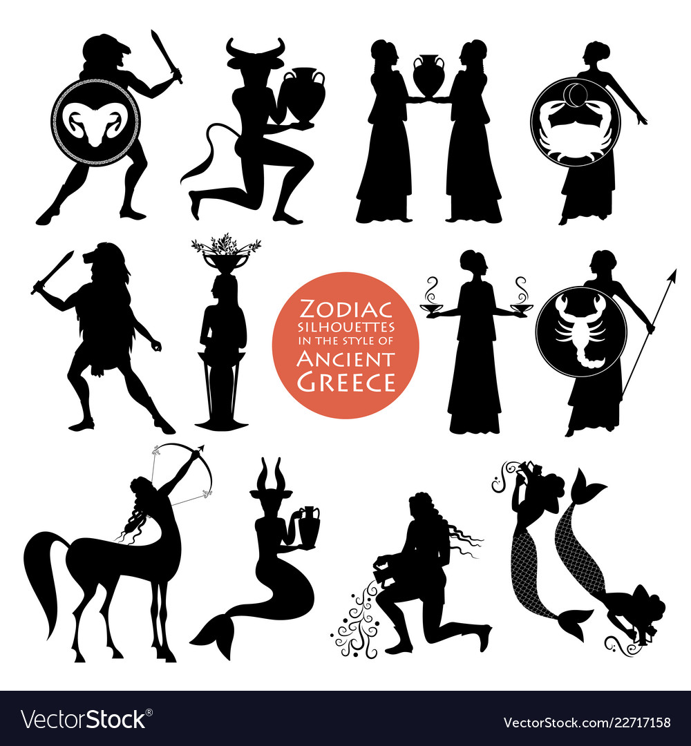 Silhouettes of zodiac signs in the style of
