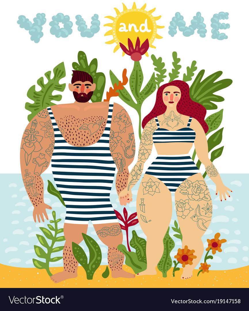 Tattooed couple cartoon poster