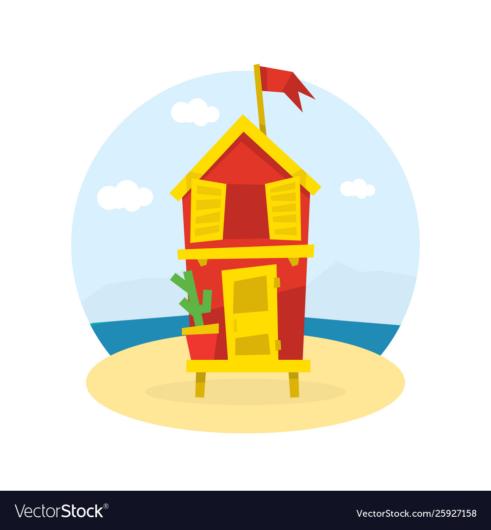 Wooden bungalow with flag on tropical coast sea