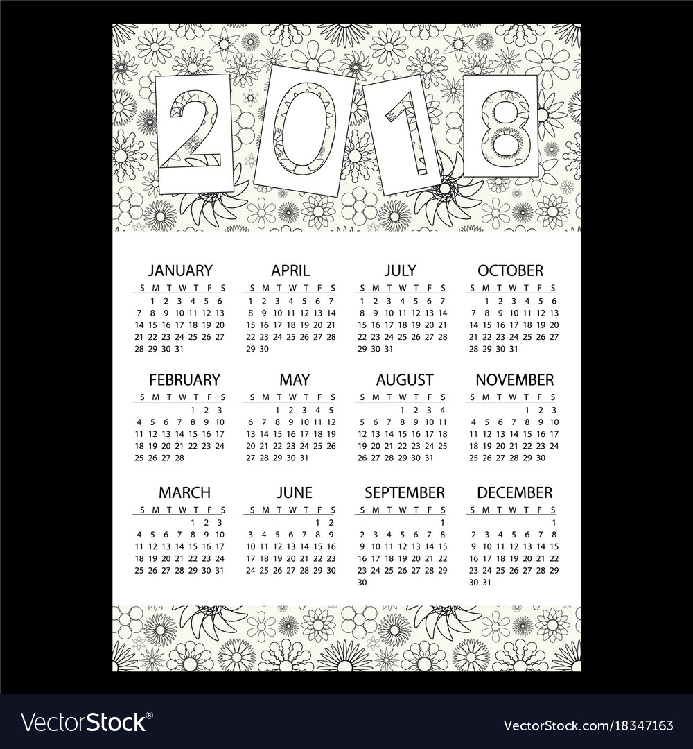 2018 simple business wall calendar with outline vector image