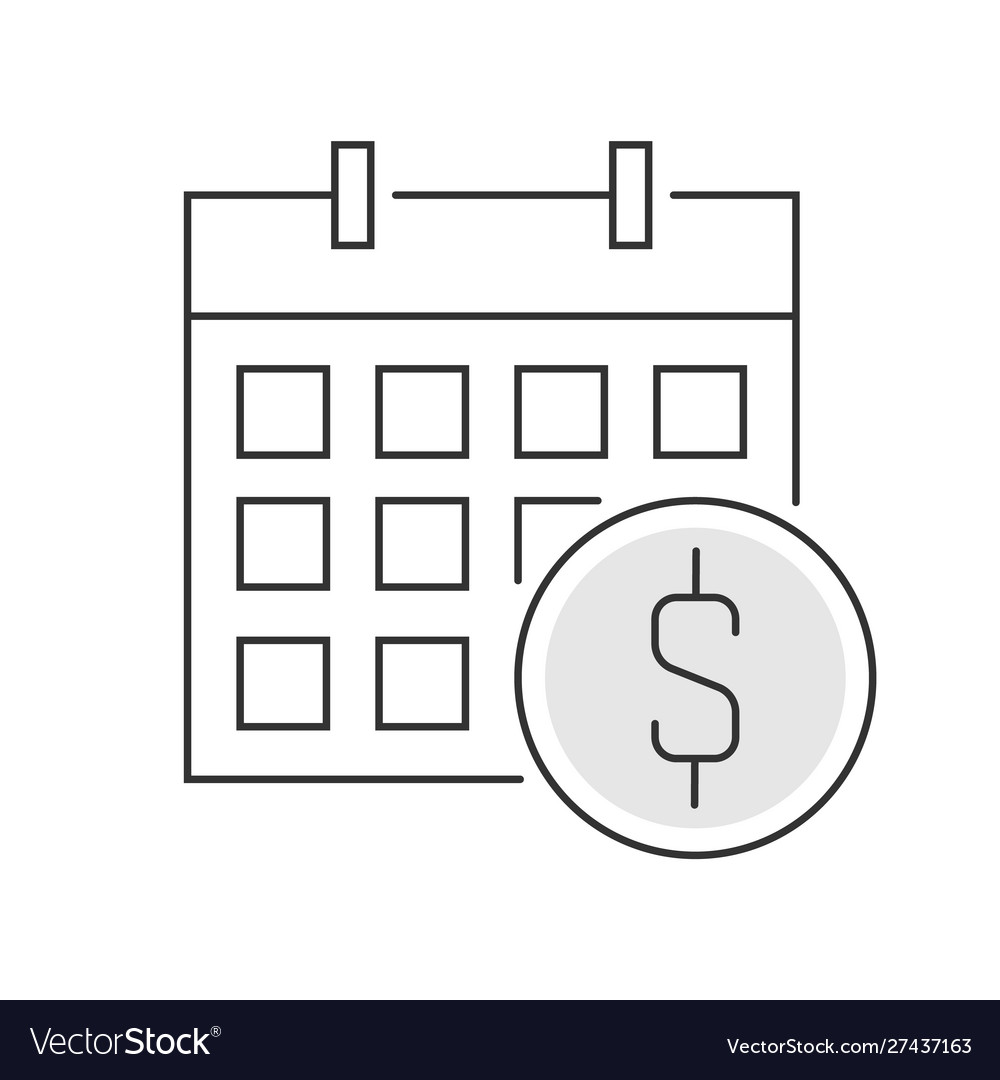Calendar and coin icon linear on white background