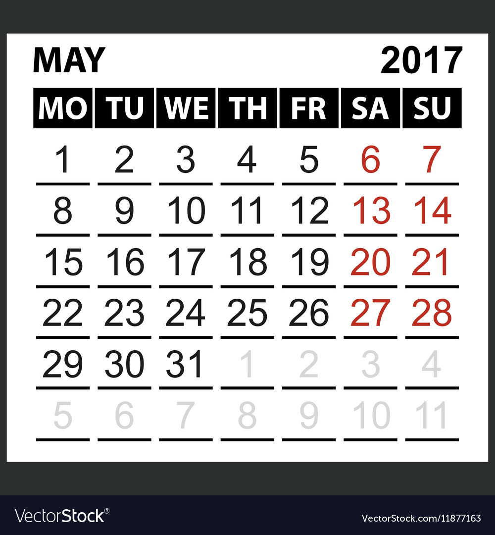 Calendar sheet May 2017 vector image