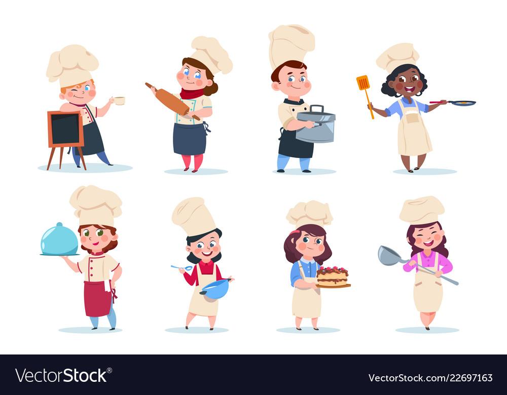 Cook kids cartoon chief children preparation meal