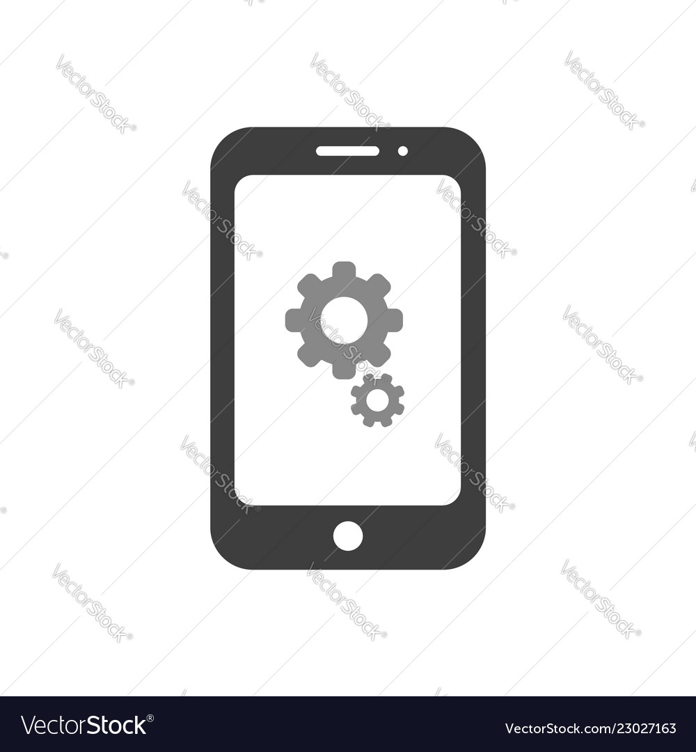Icon concept of gears inside smartphone