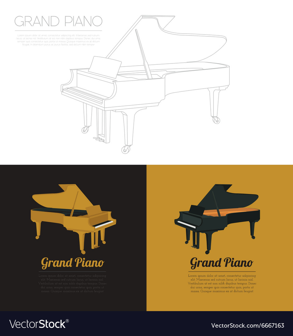 musical instruments graphic template grand piano vector image