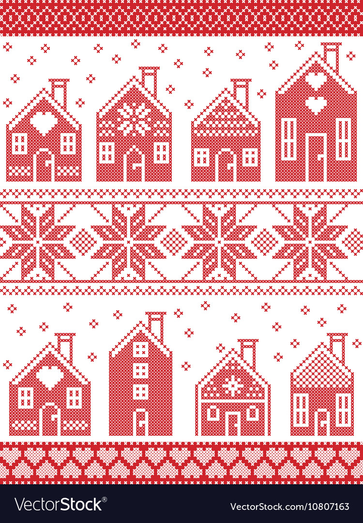 Seamless Xmas pattern with gingerbread house