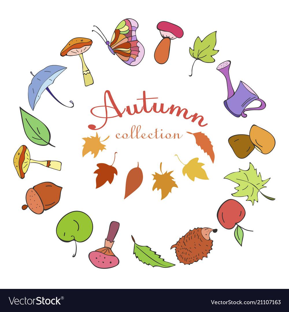 Set autumn color doodle icons