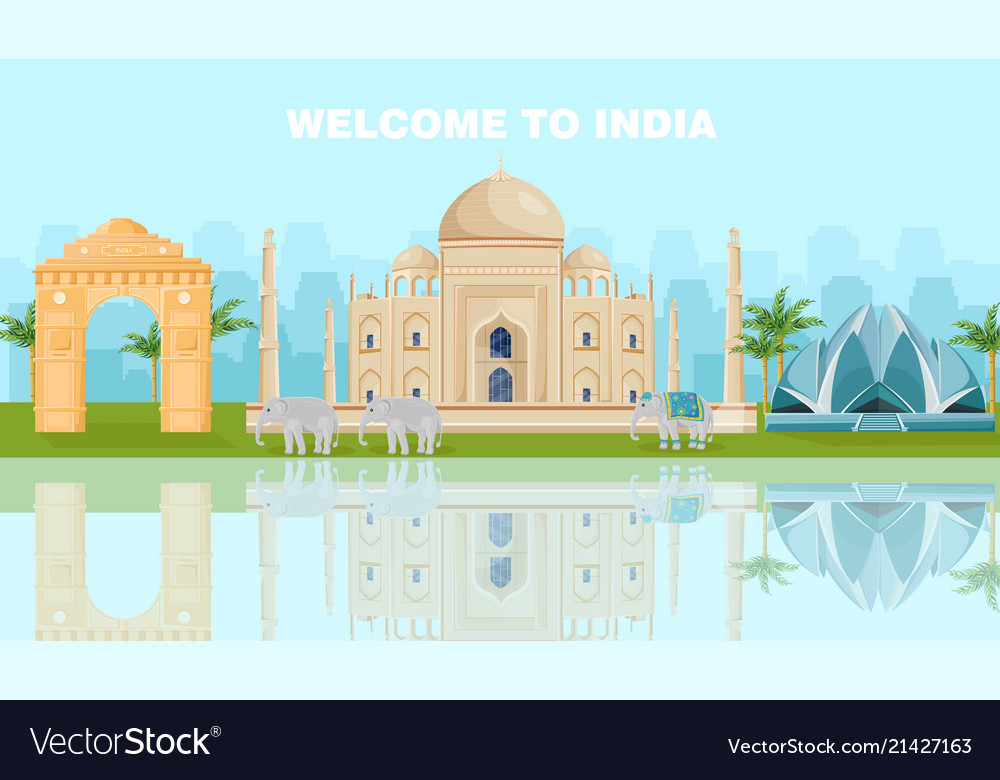 Welcome to india card with famous landmarks