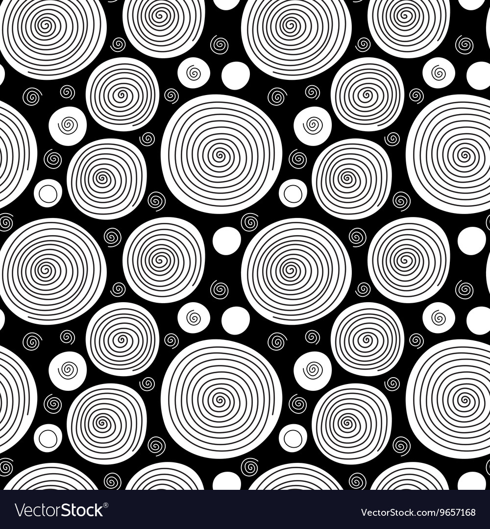 Black and white doodle spiral circles seamless