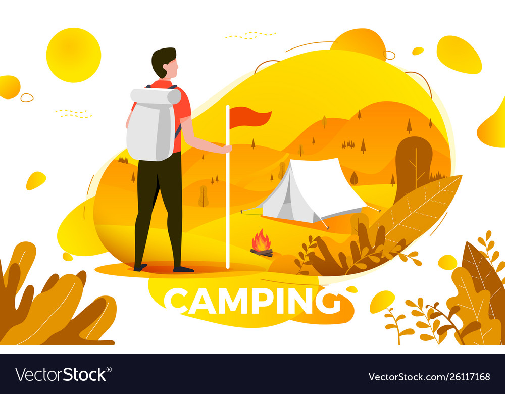 Camping man with backpack looking on tent