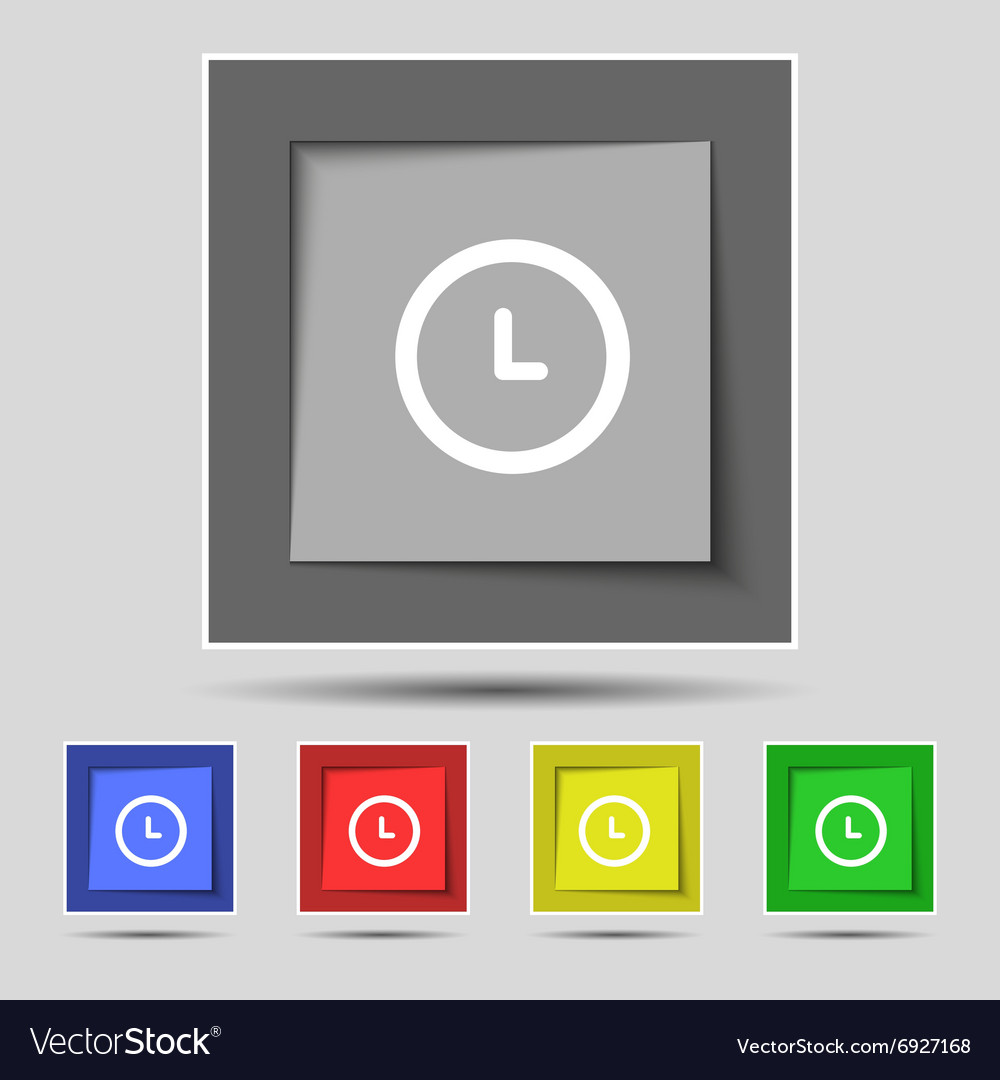 Clock icon sign on original five colored buttons