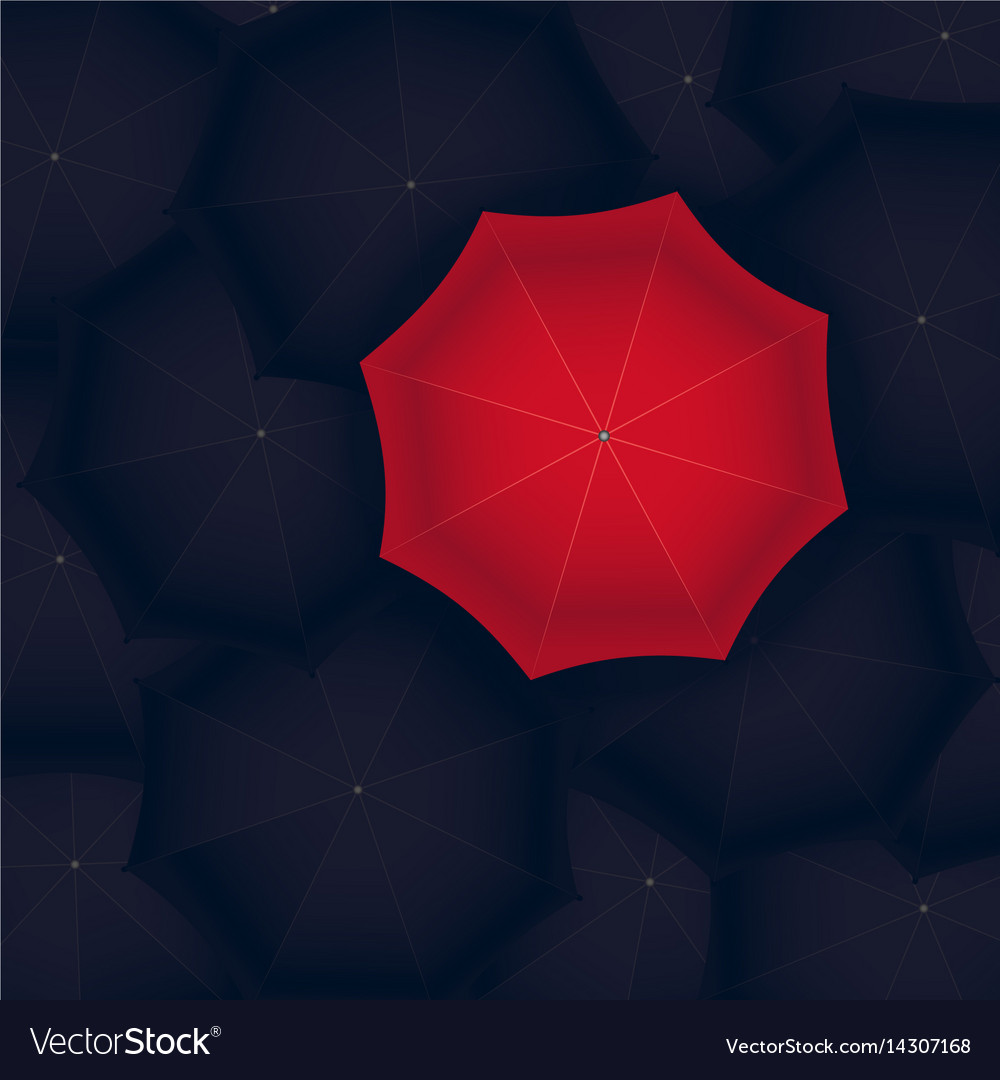 Concept of red umbrella standing out of the black