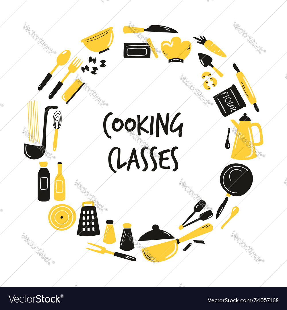 Cooking hand drawn abstract design with kitchen