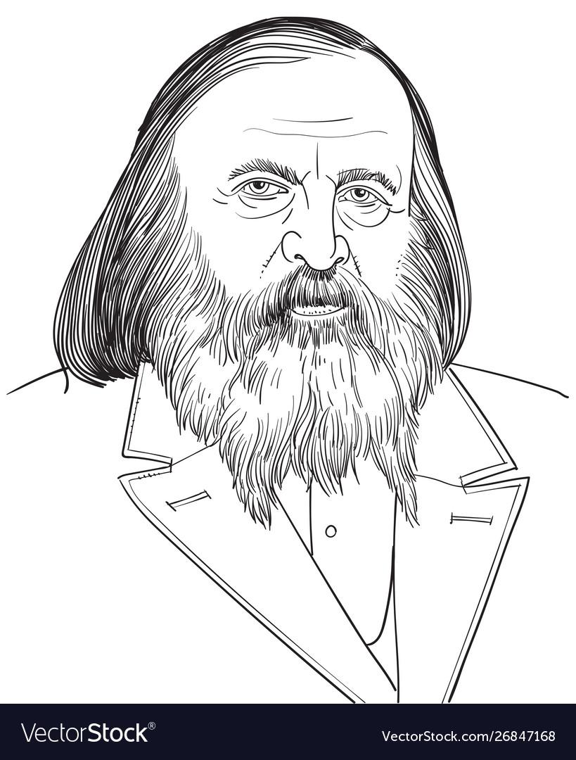 Dmitri mendeleev portrait in line art