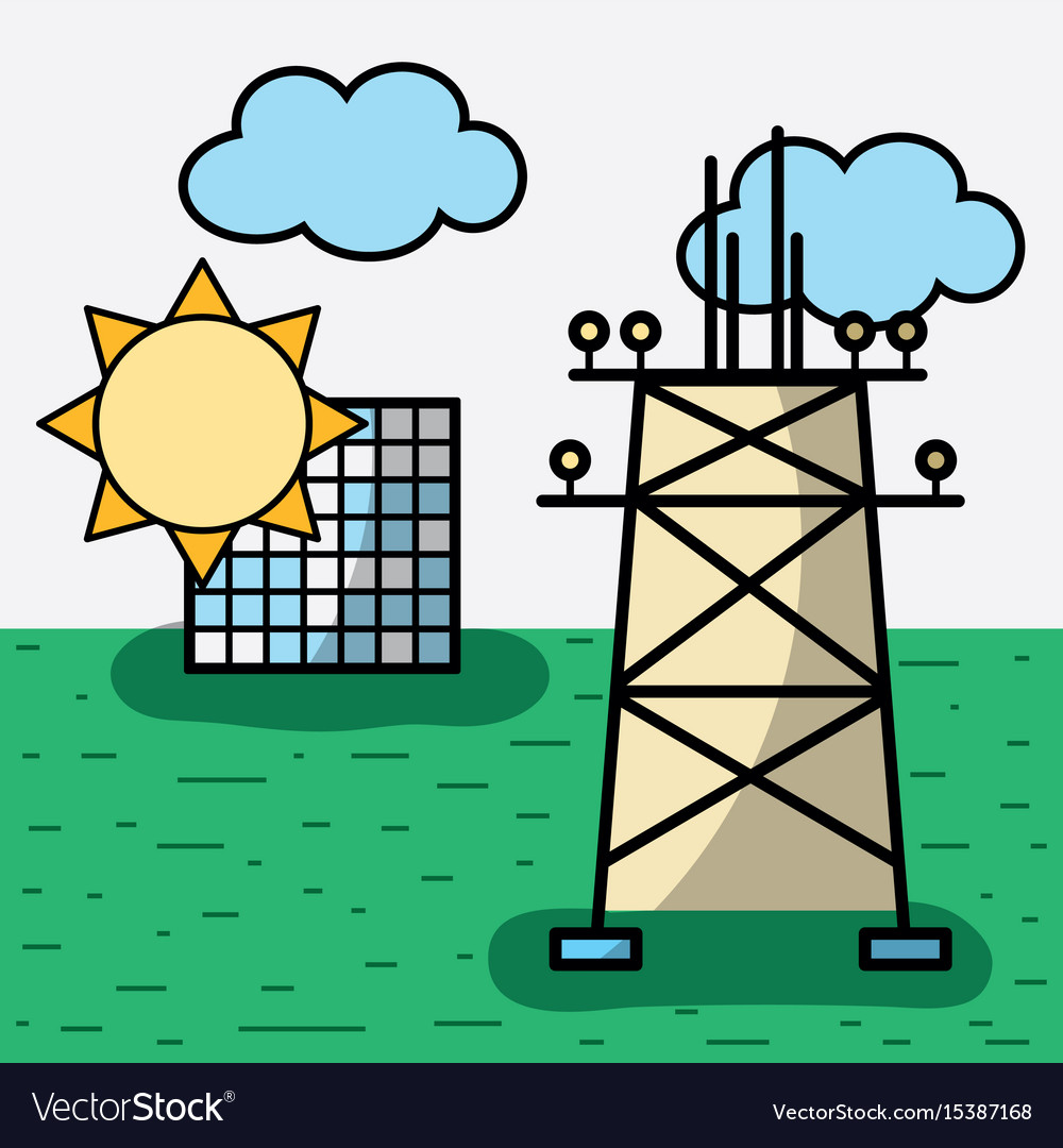 Energy tower and solar energy with clouds vector image