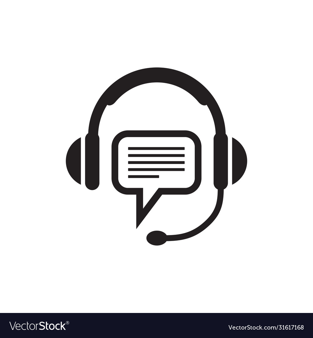 Headphone and speech bubble - black icon on white