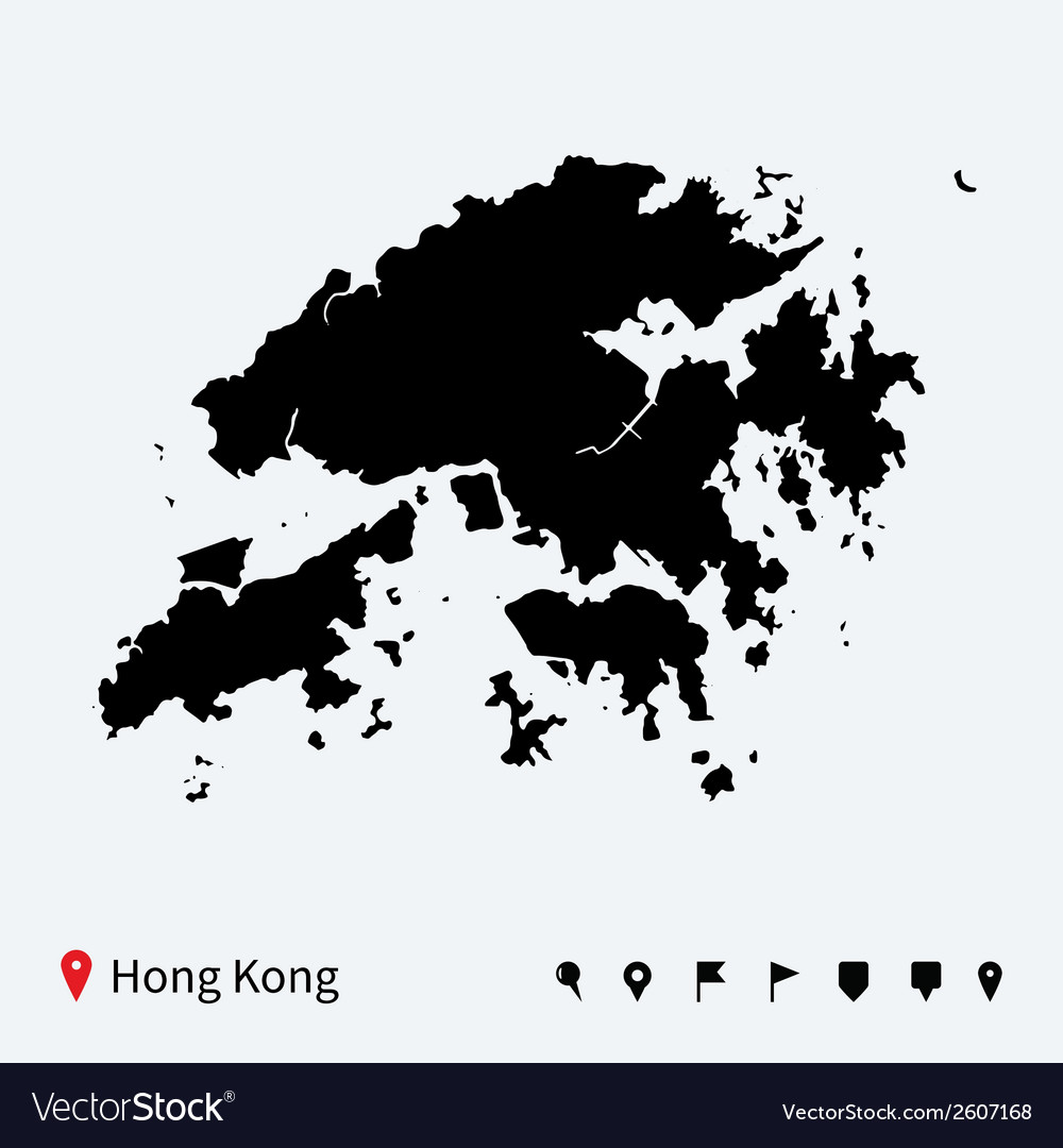 High detailed map of Hong Kong with navigation