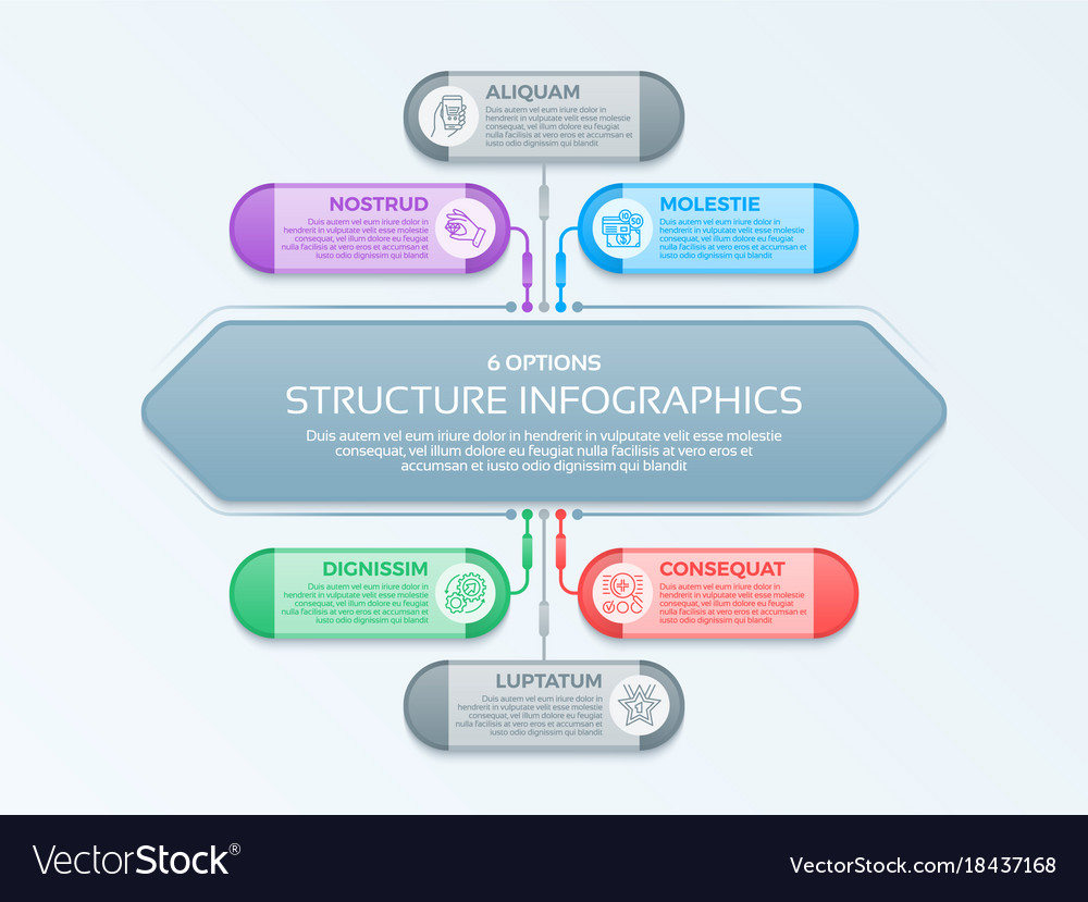 Infographics template with 6 structure elements
