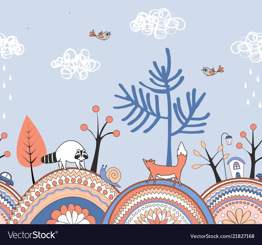 Seamless doodle autumn border hand drawn