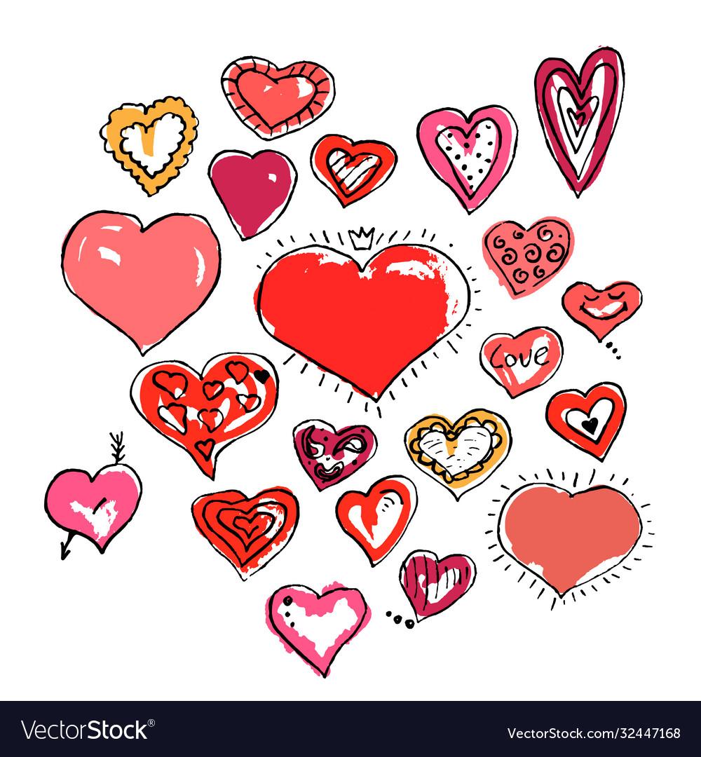 Set beautiful ink drawing hearts