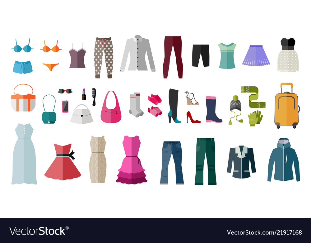 Set of womens clothing and accessories