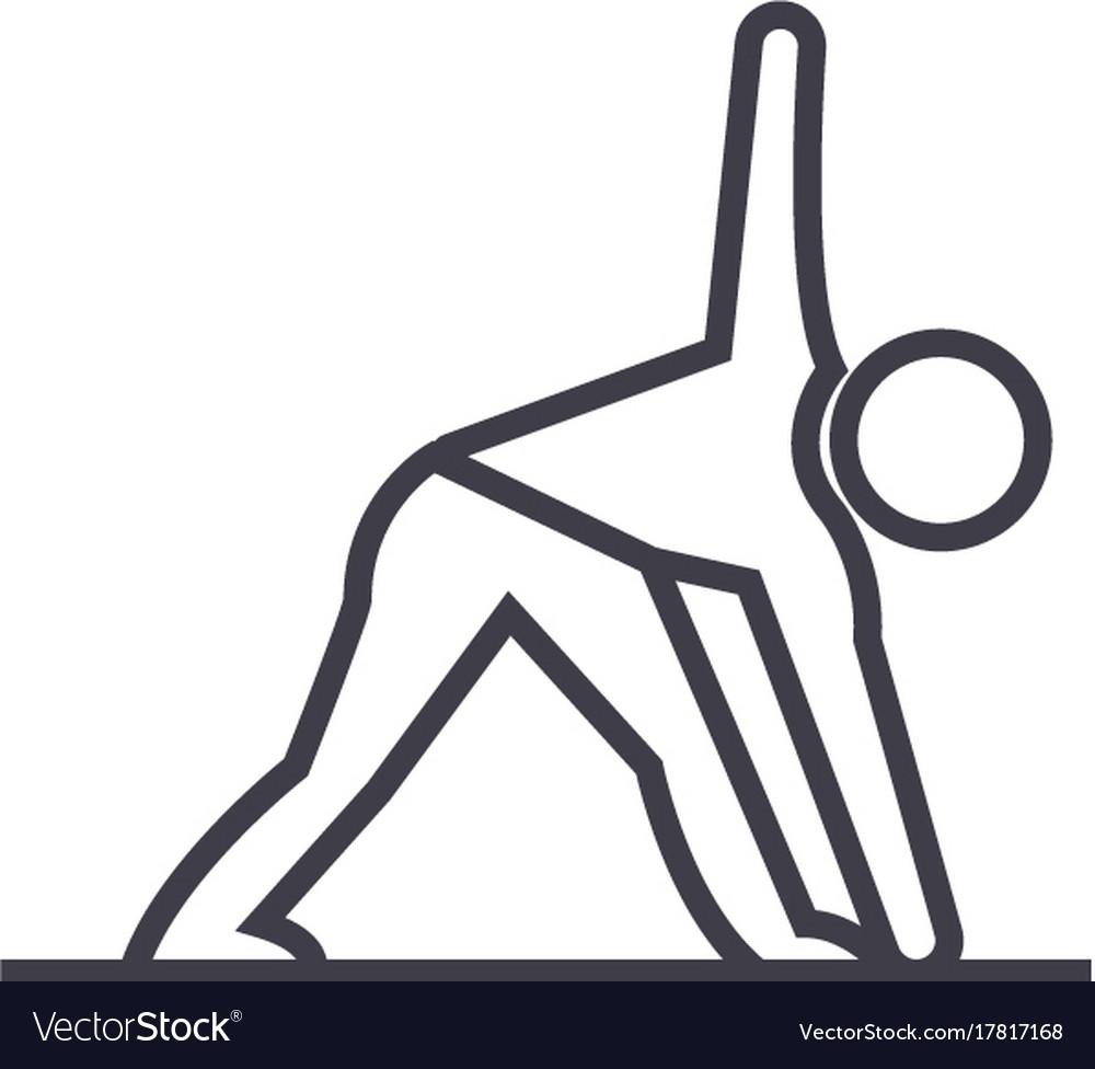 Yoga man line icon sign on