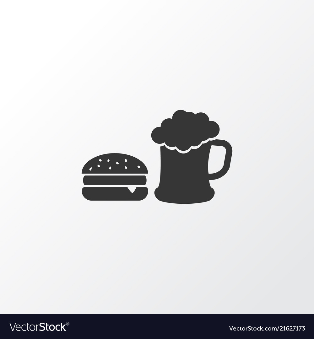 Beer With Burger Icon Symbol Premium Quality Vector Image